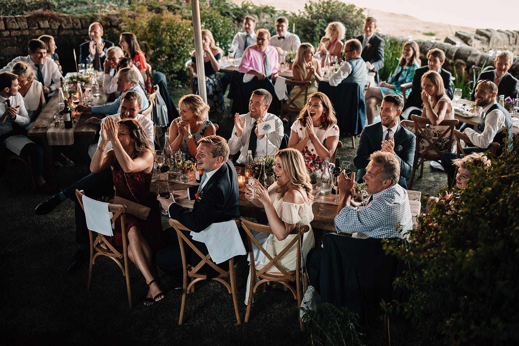 wedding guests outdoor speeches photography