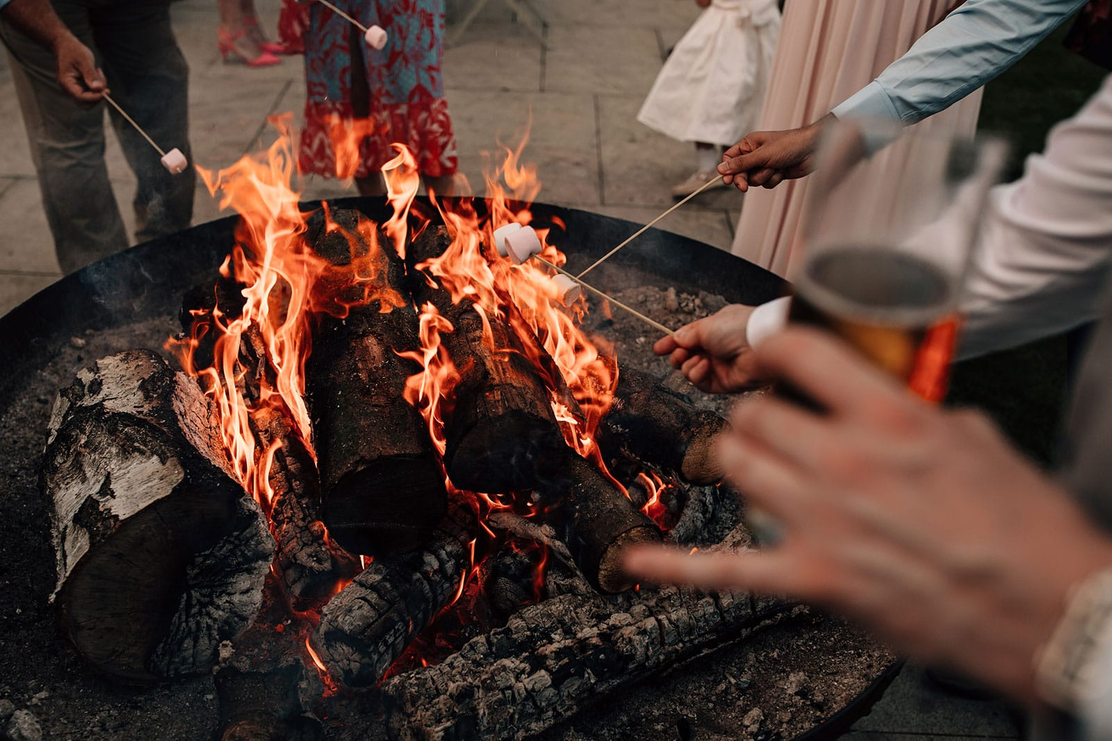 outdoor wedding photography fire pit Yorkshire