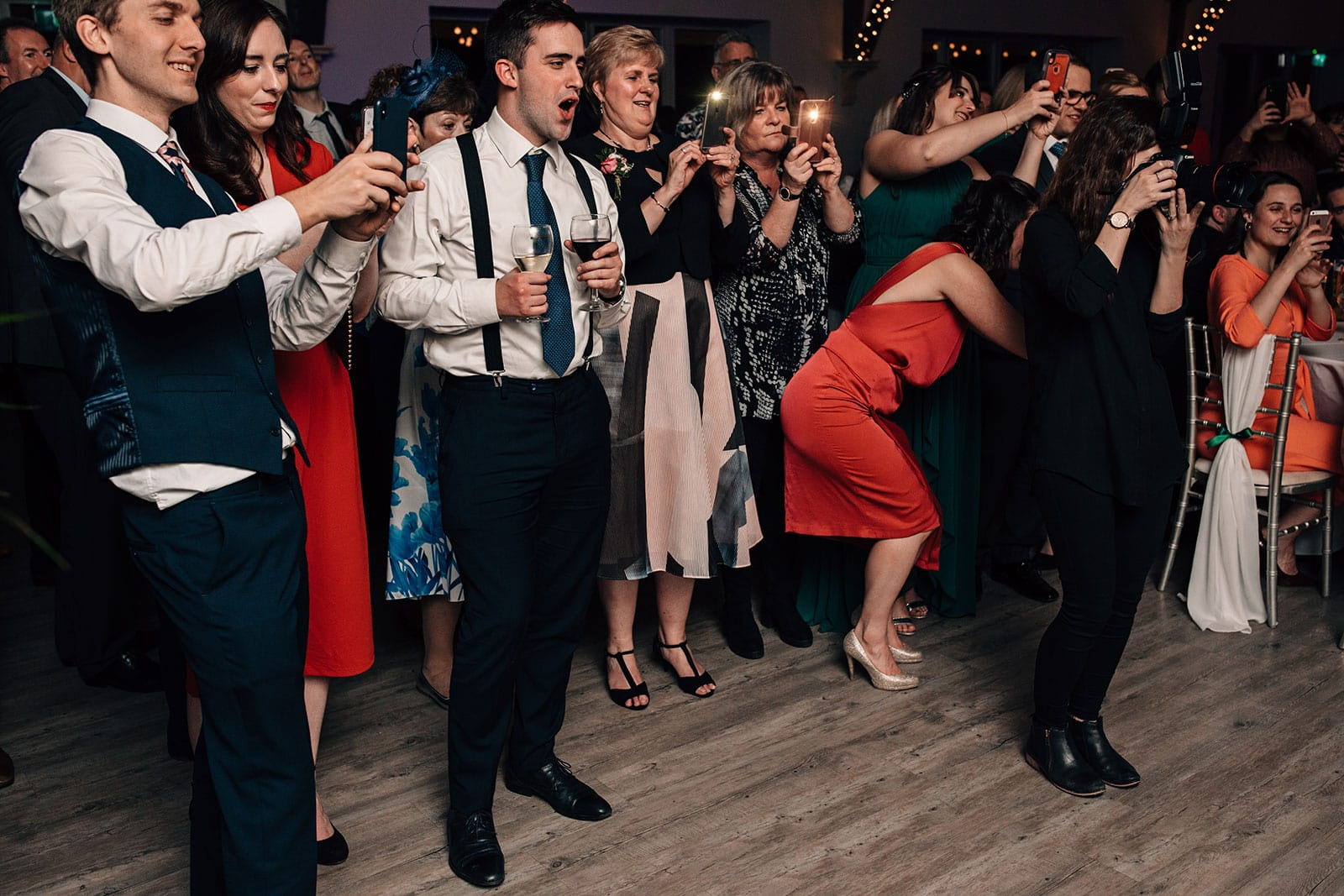 wedding guests photography Yorkshire barn