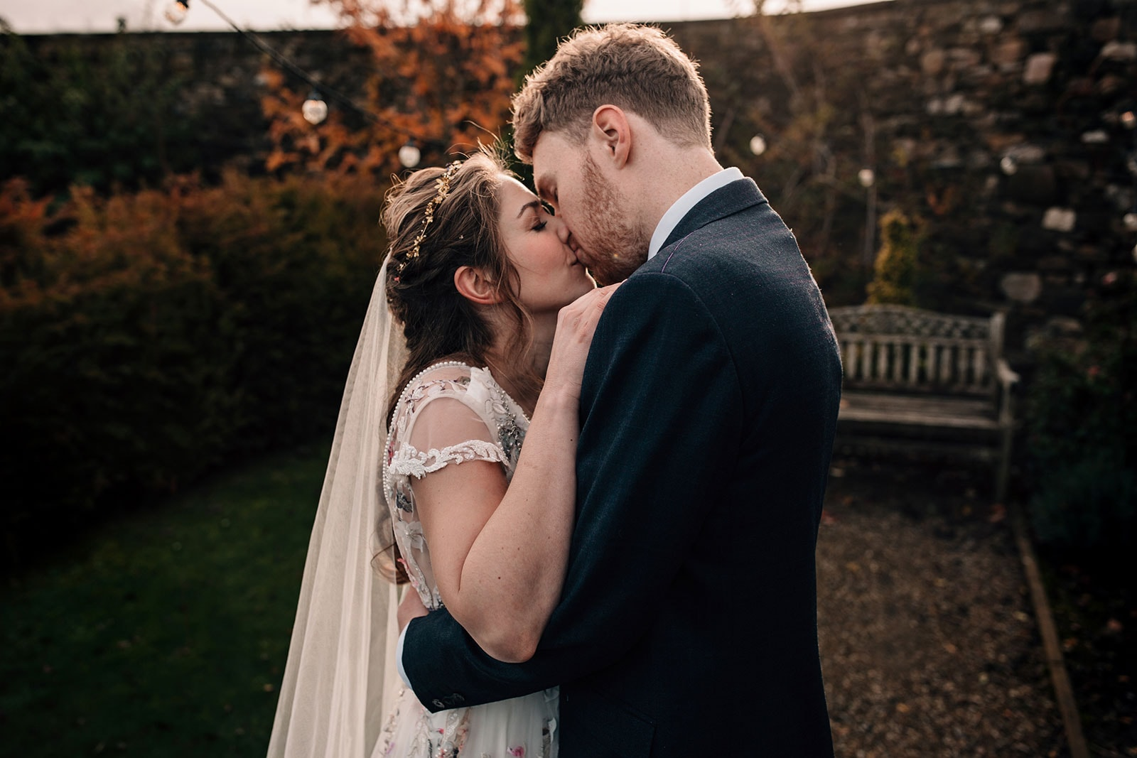 Yorkshire wedding photography autumn themed bride and groom