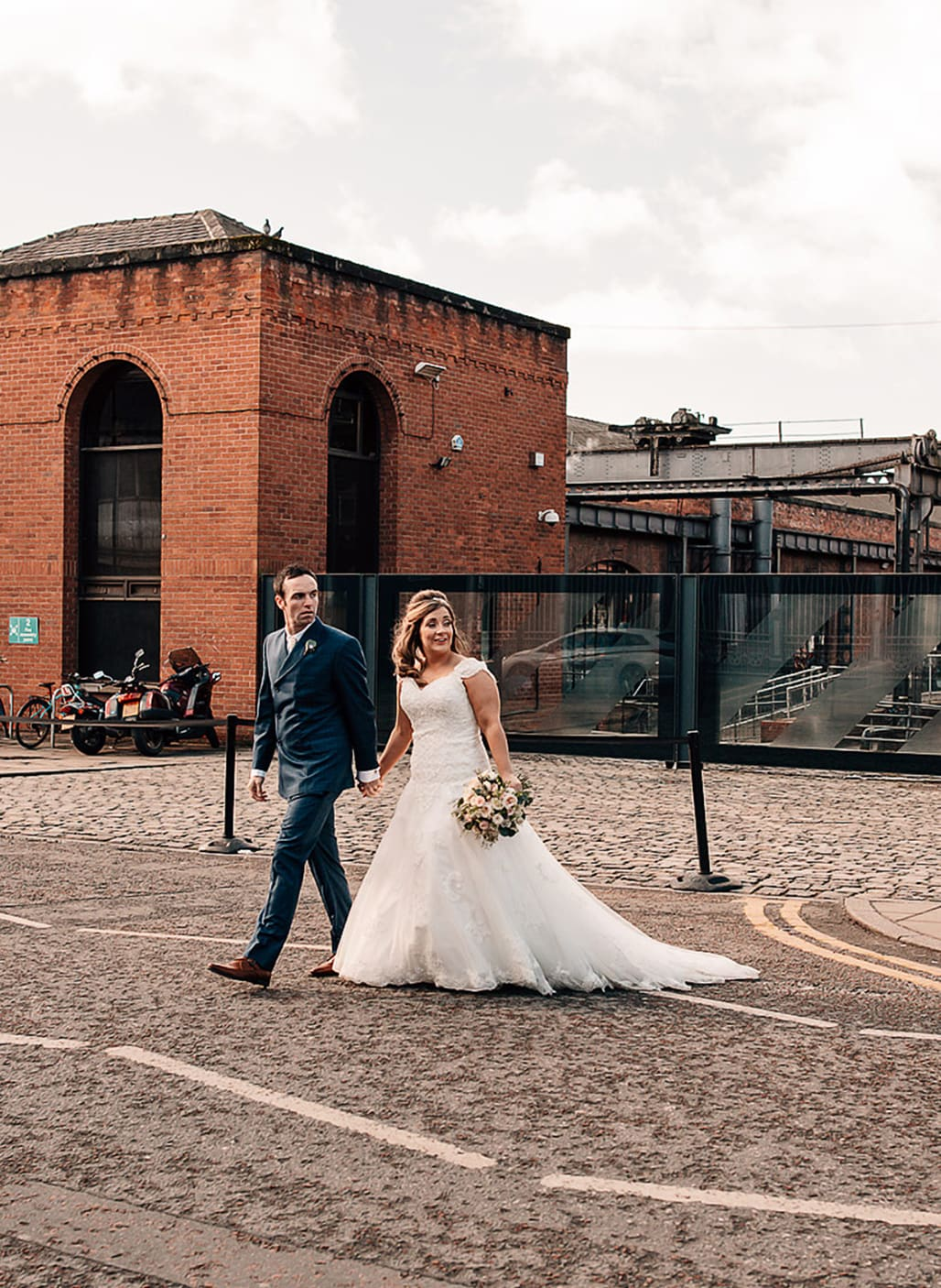 bride and groom in Manchester city centre on their wedding day